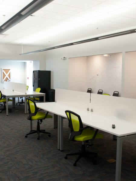 Inside work space of business incubator