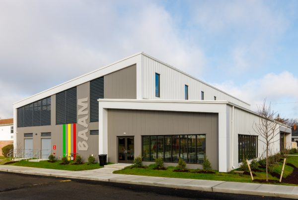 Exterior shot of the BAAM athletic center built by Willow Construction in Easton, MD